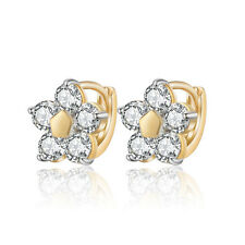 18 k Gold Plated Little Baby Girl Christening Flower Hoops First Earrings E1124