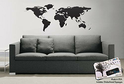 world map of earth wall decal sticker (black)stickerbrand 21in x