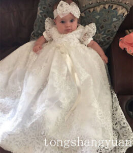 Ivory-3-6M-Lace-Baptism-Outfits-Christening-Gowns-Head-wear-Toddler-NEW-2018