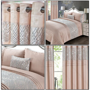 Blush-Pink-Sequins-Charleston-Glitter-Sequins-Bed-Duvet-Cover-Set-Linen-Bedding