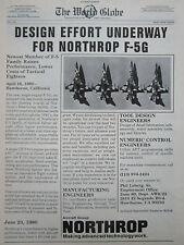 6/1980 PUB NORTHROP F-5G USAF AIR FORCE TACTICAL FIGHTER ORIGINAL AD