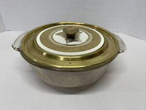 VTG MCM GEORGES BRIARD Gold Dust Glitter Pyrex Casserole Metal Ceramic COVER