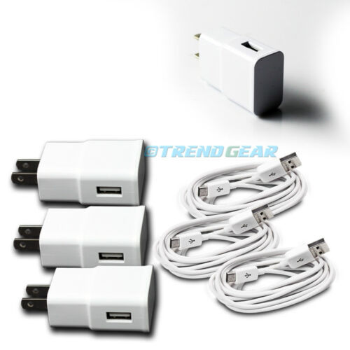 3X 2A TRAVEL ADAPTER+10FT MICRO USB CABLE WALL CHARGER WHITE GALAXY S4 S3 NOTE 2