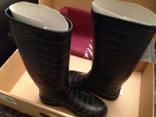 BLACK ALIGATOR Maniera hand made 100/% waterproof rain//snow boots *TALL*