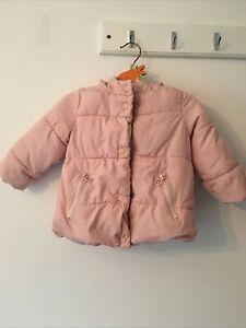 Zara-Baby-Ragazze-Luce-Rosa-Cappotto-Imbottito-12-18-mesi-Imbottito-Fodera-in-Pile
