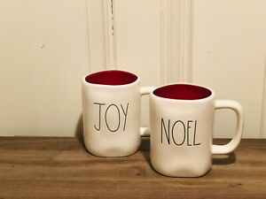 Rae-Dunn-Christmas-By-Magenta-NOEL-JOY-Green-Large-Letter-Mug-Set-of-2
