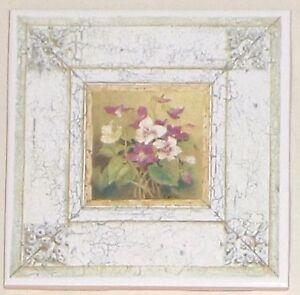 """Wild Violets Flower Ceramic Tile 4.25"""" x 4.25"""""""" Kiln Fired Vintage Decor"""