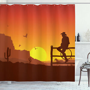"""Details about  /Western Cowboy In The Sunset Shower Curtain Bathroom Decor Fabric 12hooks 71/"""""""
