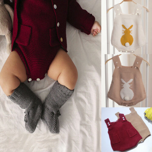 Newborn Infant Baby Boy Girl Romper Bodysuit Knitted Bunny Jumpsuit Outfit Cloth