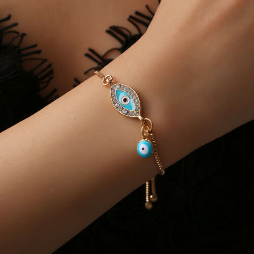 New Blue Evil Eye Metal Beads Gold Chain Pendant Necklace Fashion Jewelry to us