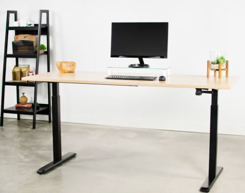 Used VIVO Black Manual Height Adjustable Stand Desk Frame Crank Ergonomic System
