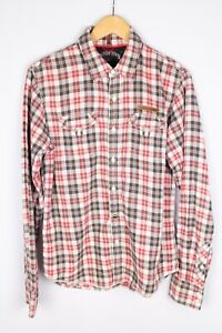 Tommy-Hilfiger-Denim-Men-Casual-Shirt-Red-Brown-Check-Cotton-size-S