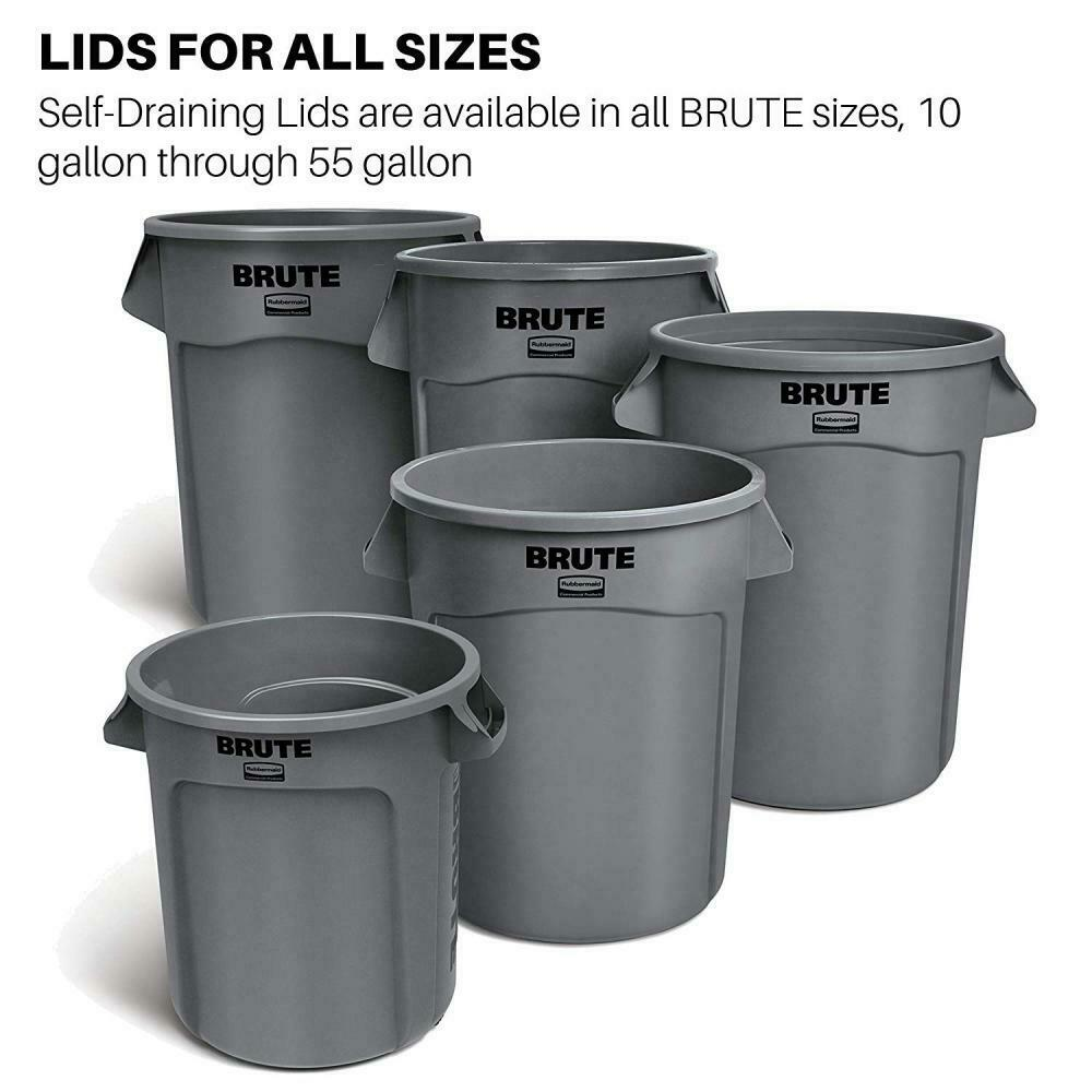 Rubbermaid Commercial Products FG263100DGRN Brute Heavy-Duty Round Trash//Garbage Lid Renewed Green 32-Gallon