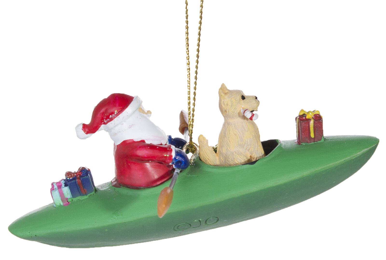 Adorable Santa And Dog In Kayak Christmas Ornament