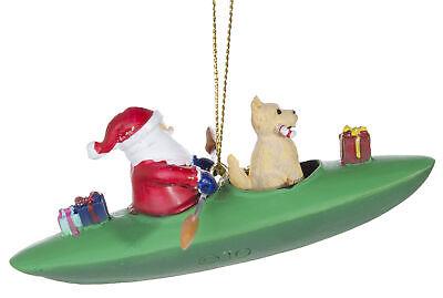 Adorable Santa And Dog In Kayak Christmas Ornament | eBay