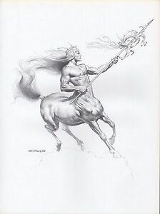 1982-Vintage-BORIS-VALLEJO-034-CENTAUR-WARRIOR-034-WOW-Art-Plate-Drawing-Lithograph