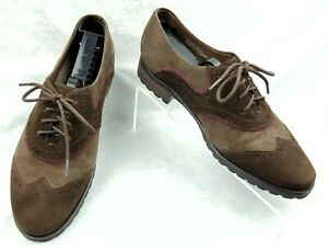 Earthies-Berlin-Dark-Brown-Leather-Suede-Wingtips-Oxfords-Shoes-Women-s-Sz-8B