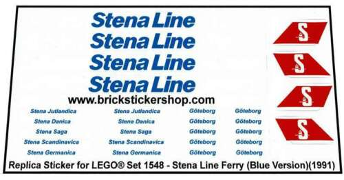 B Stena Ferry Line 1991 Precut Custom Replacement Stickers for Lego Set 1548