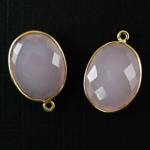 Sold Per 2 Pcs 14x18mm Faceted Oval Bezel Gemstone Pendant Pink Chalcedony