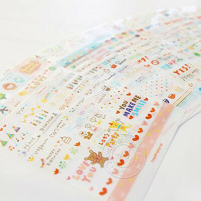 6Pcs Drawing Market Sticker Album Diary Home Décor Transparent Rainbow Sticker