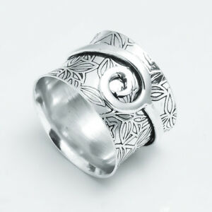 Solid-925-Sterling-Silver-Meditation-Ring-Statement-Ring-Spinner-Ring-Size-jj01