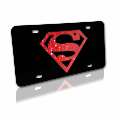 Superman on Black License Plate Color Reflective