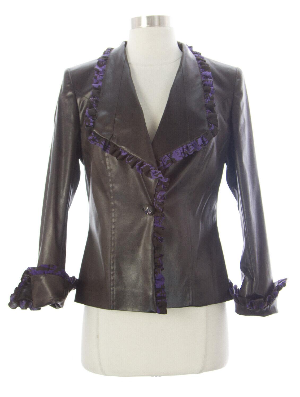 Thana para mujer marrón púrpura Chaqueta de cuero de  imitación T328B se 42  1,540 Nuevo  autorización oficial