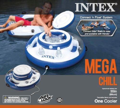 Intex Mega Chill Swimming Pool Inflatable Floating 24 Beverage Cooler Holder
