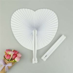 5pcs Wedding White Heart Shaped Diy Painting Paper Fan Hand Held