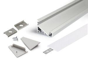 Set-Profilo-Alluminio-LED-Angolare-30-60-CORNER27-Completo-tappi-cover-e-ganci