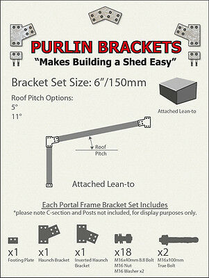 Attached Skillion Lean-to Shed 6inch C Section Purlin Bracket Set