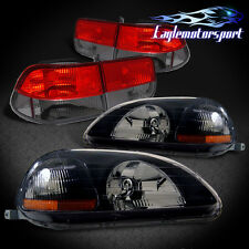 1996-1998 Honda Civic 2DR Coupe Black Headlights/Red Smoke Tail Lamps 97
