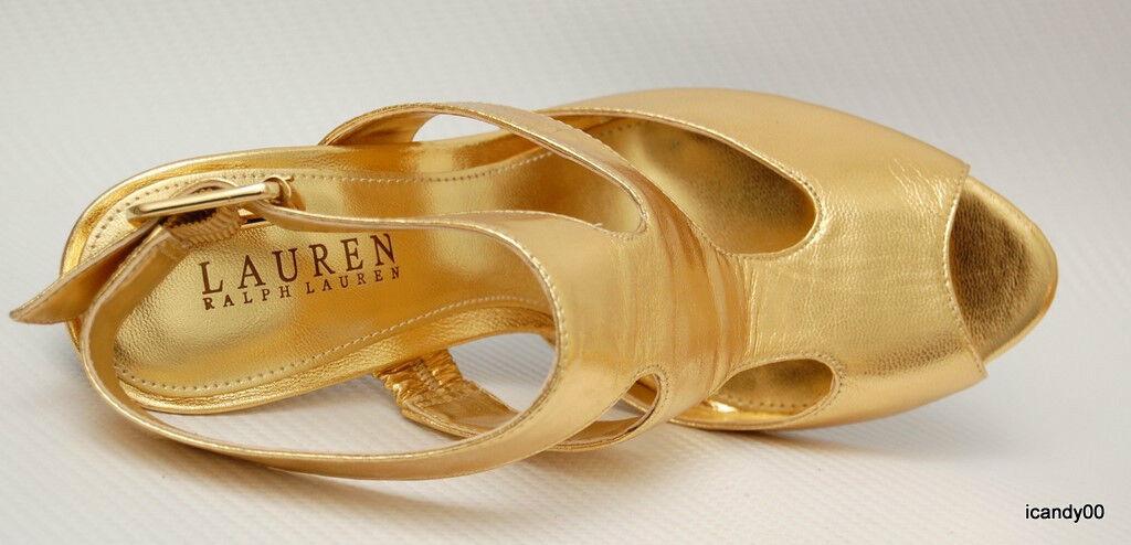 New Ralph Ralph Ralph Lauren BAIRD Leather T-Strap Strappy Sandal Pump Heel schuhe Gold 5.5 7ba907