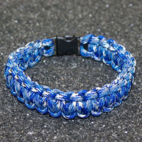 Bucky Bleu Camouflage 550 LB TYPE III Paracord Survie Corde Bracelet Made in the USA environ 249.48 kg