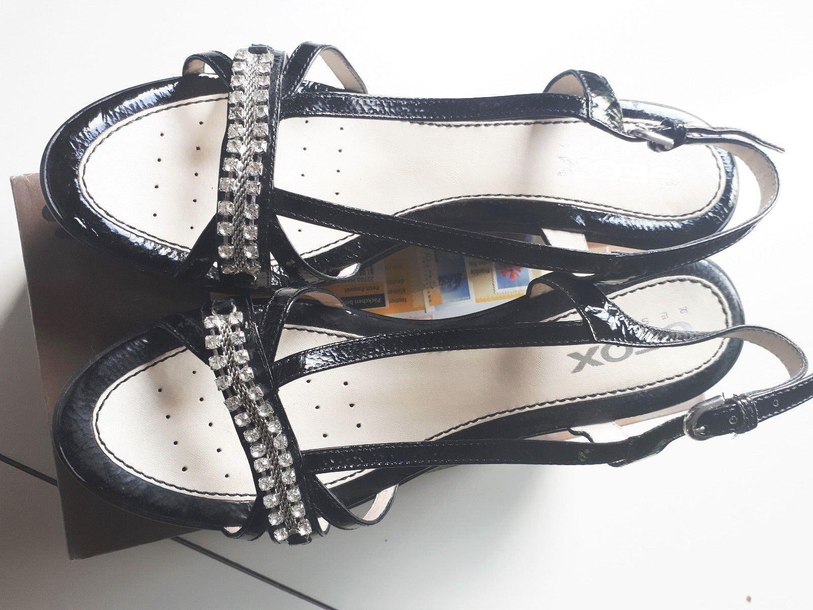 GEOX KeilSandaleeette, Gr. 39, schwarz mit Strass-Streifen, 1 x getragen