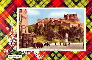 Vintage-Postcard-Edinburgh-Castle-from-Castle-Street-Buchanan-Clan-Tartan-15X