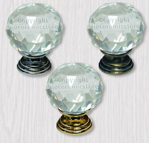 Clear Crystal Cut Diamond Glass Wardrobe Cupboard Door Knobs 50mm