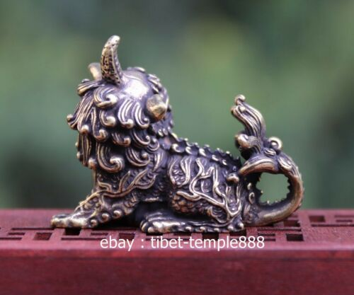 4 CM Chinese Bronze Foo Dog exorcise evil Guardian Lion Fengshui Animal Statue