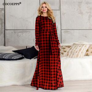 COCOEPPS 5XL 6XL Plaid Print Women Maxi Dress Elegant Winter Plus ...