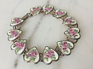 Antique-11-Pink-Floral-Enamel-Hearts-Sterling-Silver-Bracelet-7-034