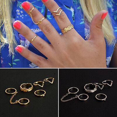 6PCS/Set Fashion Ladies Style Urban Stack Plain Above Knuckle Punk Chain Rings