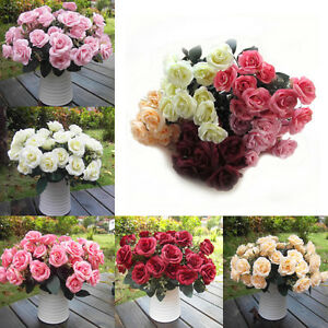 12 heads artificial fake silk rose leaf flower garland home wedding image is loading 12 heads artificial fake silk rose leaf flower mightylinksfo