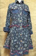 OILILY DENIM Floral FAWN DEER Western Jean DRESS 116 5/6 Copper Snaps FULL SKIRT