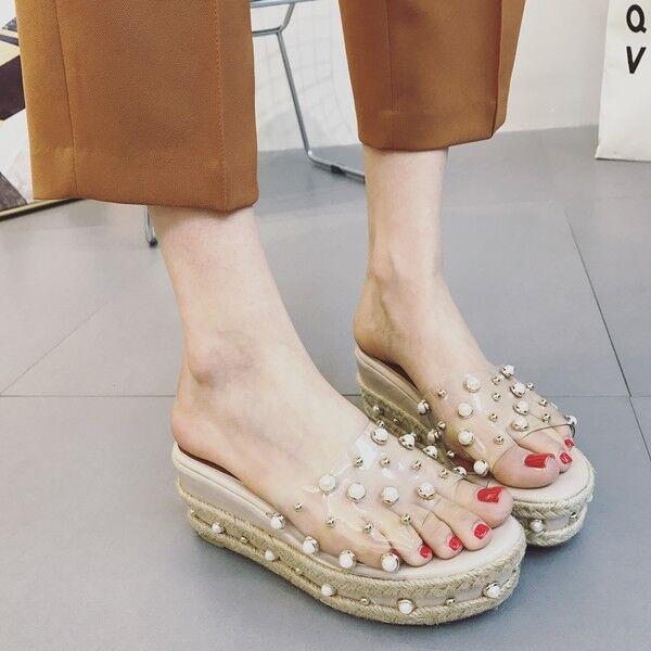 Sandalen elegant keil-pantoletten hausschuhe 9 weiß komfortabel simil