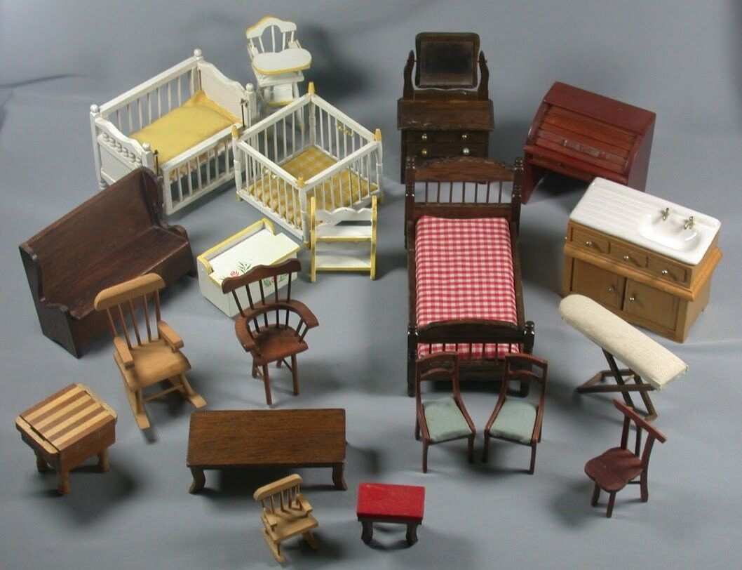 LOT 20 Pc Wood Wooden Doll House Furniture