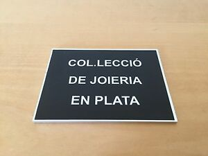 Plate-Exposant-Exhibitor-Plaque-COLLECTION-OF-JEWELLERY-IN-SILVER-Aluminium