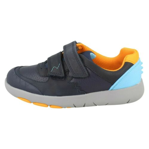 BOYS KIDS CLARKS REX QUEST K HOOK /& LOOP CASUAL TRAINERS LEATHER SHOES SIZE