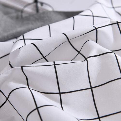 Reversible Grid Bedding Sets White Duvet Quilt Cover Pillow Case Twin//Queen//King