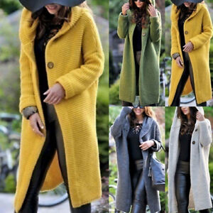 Spring-Autumn-Women-Hooded-Knit-Cardigan-Sweater-Outwear-Long-Jacket-Trench-Coat