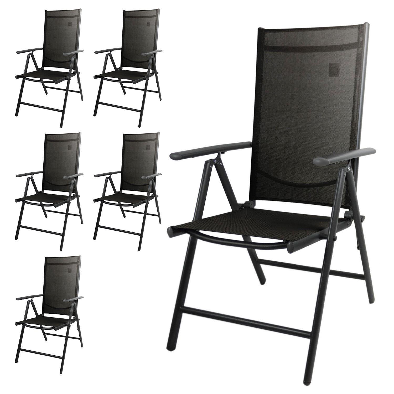 6er Set Aluminium Hochlehner Gartenstuhl Textilenbespannung Anthrazit Anthrazit Anthrazit Schwarz 1df4fc